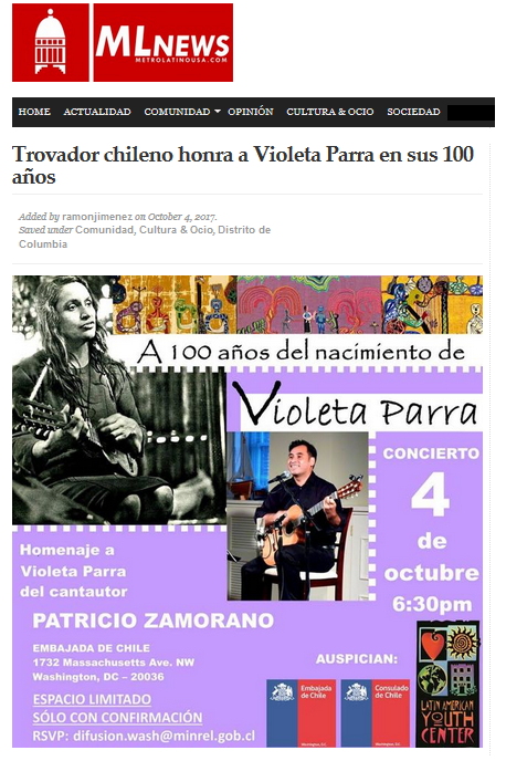Screen Shot MLNews Violeta Parra Patricio Zamorano