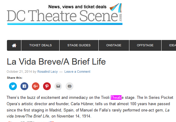 Screen Shot DCTheatreScene La vida Breve Patricio Zamorano Oct 2014