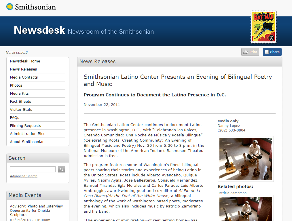 Screen Shot Smithsonian webage with Patricio Zamorano in concert 2011
